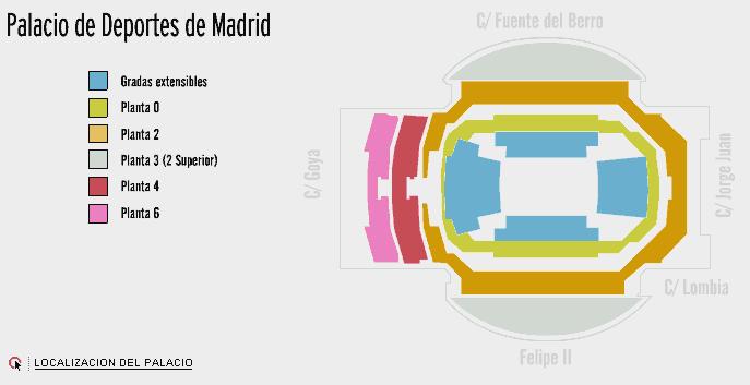Mapa y plano del palacio de deportes de madrid final four 2008 for Puerta 7 palacio delos deportes