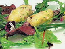 Tartare de langostinos en ensalada de mil hojas